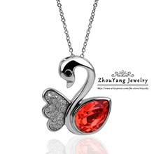 ZHOUYANG N352 Red Swan Necklace Silver Color Fashion Jewelry Nickel Free Pendant Austria Crystal Elements
