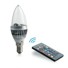 Sale Changble 85-265V E14 LED Bulb 3W LED Lamp RGB Spot Light / Candle Lamp / Colorful Bulbs with 24 Buttons Remote Control