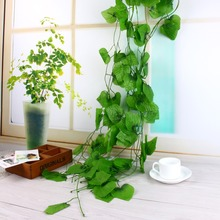 12pcs/bag Plastic Green Ivy Leaves Artificial Grape Vine Fake Foliage Leaves Home Decoration Artificial Plants(China)