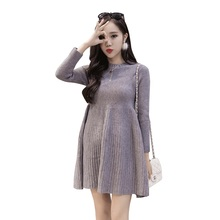maternity clothes loose medium-long basic sweater one-piece dress maternity sweater autumn and winter Pregnancy dress(China)