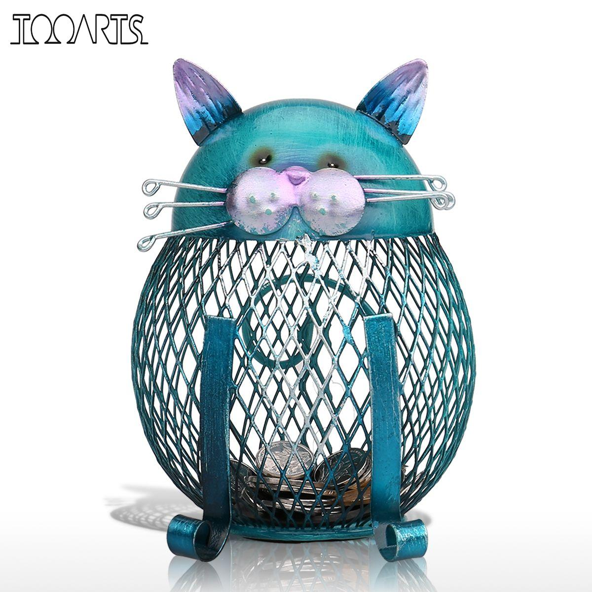 Tooarts Blue Cat Bank Shaped Piggy Bank Metal Coin Bank Money Box Figurines Saving Money Home Decor Favor Gift For Kids(China (Mainland))