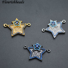 Paved Blue CZ Beads Metal Star Tag Charm Jewelry Connectors Fit Pendants or Bracelets Making Jewelry Accessories(China)