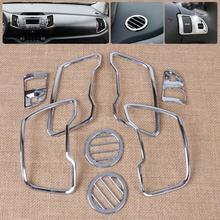 New 8pcs Chrome Car Interior Steering Wheel Trim + Air Vent Outlet Cover Trim Kit for Kia Sportage R 2011 2012 2013 2014 2015