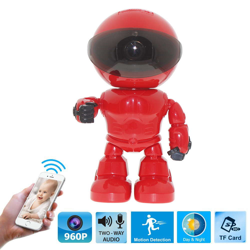 HD 960P WIFI Wireless Robot Security IP Camera 160 Degree Night Vision Motion Detection Audio Alarm Function Video Home Monitor<br>