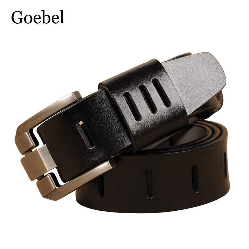 Goebel Men Belt Brand Fashion Cow Split Leather Retro Men's Belts Luxury Casual All-Match Brand Name Belts For Man(China)