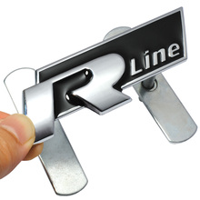 3D Metal R Line Rline Car Grill Badge Emblem Car Styling Sticker For Volkswagen VW Polo Golf 6 5 7 Jetta MK5 MK6 Passat B5 B6 B7(China)