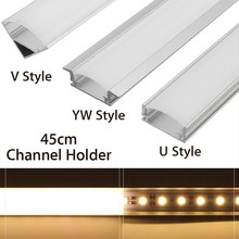 Silver Aluminium 45cm U/V/YW Style Shaped LED Bar Light Channel Holder For LED Strip Light Bar Cabinet Lamp(China)