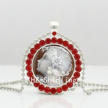 2017 New Angel Cameo Necklace White Cameo Crystal Pendant Glass Angel Jewelry Silver Ball Chain Necklaces