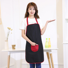 Women Apron Halterneck Polyester Apron with 1 Pockets Chef Waiter Kitchen Cooking Tool Household Cleaning Accessories
