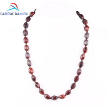 2017 Seven Style Fashion 45CM Red Natural Stone Hexagon Bead Charm Women Long Necklaces & Pendants Jewelry Collar Accessories(China)