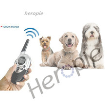 Heropie New 1000M Rechargeable LCD Remote Dog Training Collar Dog Trainer Pet Electric Shock Large Dog Collar Leads(China)