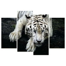 4 Panel Wall Art  Tiger Printed Painting Door Windows Painting On Canvas Architecture Pictures For Home Decor TP-240