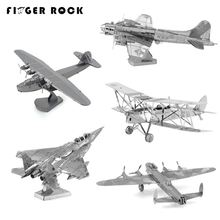 Finger Rock Educational 3D Puzzles Metal Model Military F15 fighter Airplane Apache Helicopter Water Plane Jigsaw DIY Toy Gift