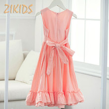 4-14Y Girls Dress Summer Clothes Casual Linen High Quality Long Dresses Kids Children Clothing Trendy Party Costume Pink/White