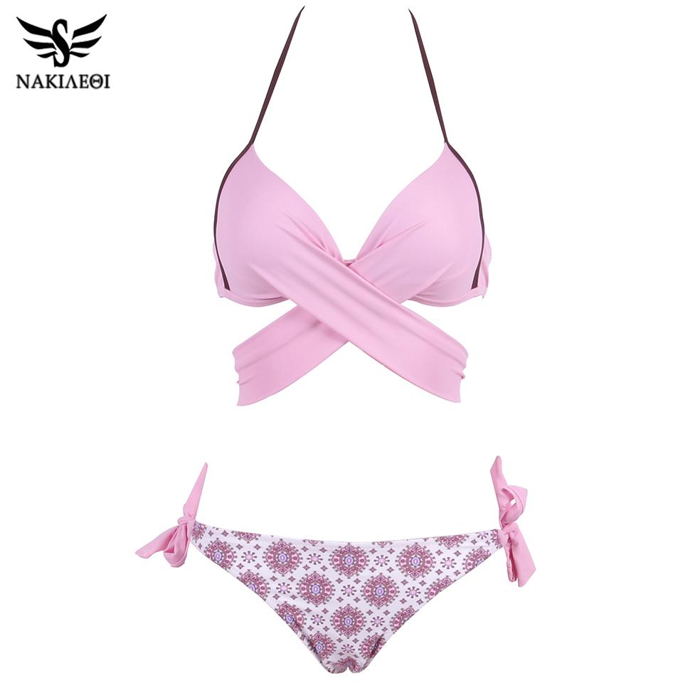 NAKIAEOI 19 Sexy Bikini Women Swimsuit Push Up Swimwear Criss Cross Bandage Halter Bikini Set Beach Bathing Suit Swim Wear XXL 22