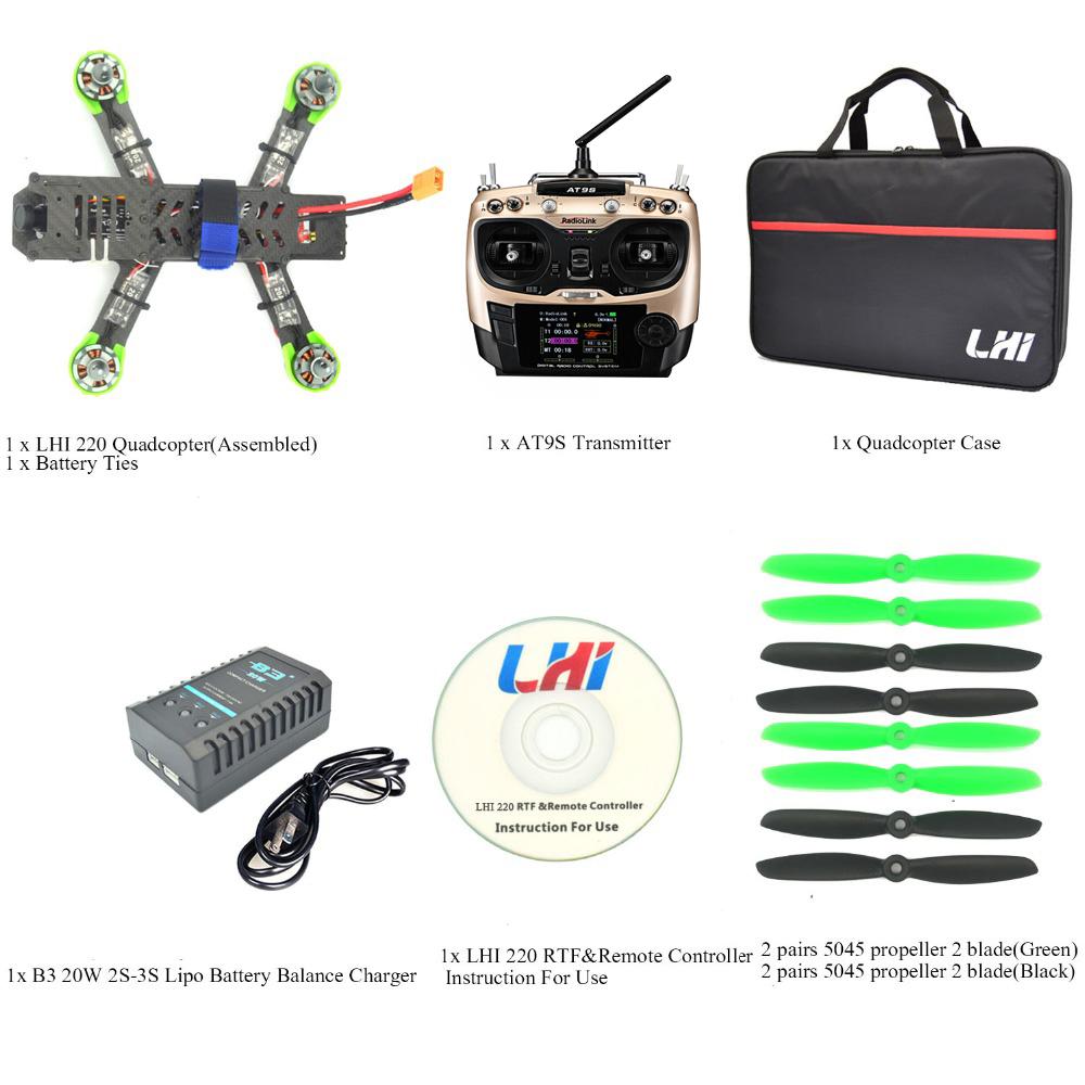 quadrocopter drone with camera QAV ZMR 220mm+ AT9 radiolink 2.4G Remote Control 1000TVL TS5828 FPV 5.8G 32CH 600mW quadcopter