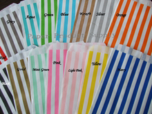"Thin Candy Striped  Gift Bags Flat 5x7"" red yellow hot pink black blue mint green gold silver brown Kraft Paper Favor Bags"