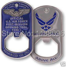 Hot sales US AIR FORCE OPENING TOOL DOG TAG BOTTLE OPENER low price custom military dog tag opener(China)