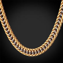 Thick Hiphop Gold Chains For Men Fashion 22''  Gold Color Two_Tone Chains Chunky Necklace Hip Hop Jewelry N1553