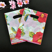 100pcs 15x20cm Red Flowers Design Plastic Gift Bag Favor Jewelry Boutique Gift Packing Bag Plastic Shopping Bags With Handle