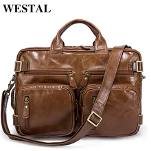 WESTAL Genuine Leather Men Bag Men's Briefcase 14inch Leather Laptop Bag business Male men travel Handbag Tote crossbody Bags