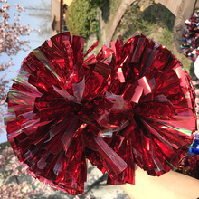 "Free Fast Shipping  18pieces Cheerleader Pom pom  Metallic Red and Rainbow Color 1,000*3/4"" *6"" Cosplay Poms Baton Handle"