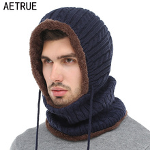 AETRUE Winter Knitted Hat Beanie Men Scarf Skullies Beanies Winter Hats For Women Men Caps Gorras Bonnet Mask Brand Hats 2018(China)