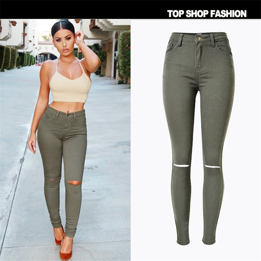 2017 New Women Black Cut High Waist Jeans Taille Haute Femme Plus Size Army Green  Ripped Jeans for Women Sexy Jeans PantsОдежда и ак�е��уары<br><br><br>Aliexpress