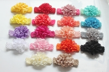 2016 Newborn Baby Flower hairband infant Headband princess Crochet weave headbands elastic children hair Accessories 100pcs/lot