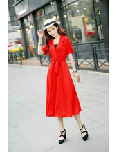 New Summer Women Long dress Solid Slim Short Sleeve Windy Place Collect Waist Dresses Gray White Red Black Chocolate 901