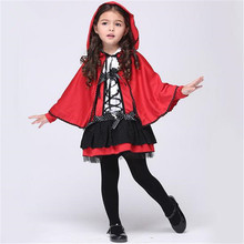 Free shipping girls little red riding hood cosplay costume Dresses and Cloak Halloween costume for children(China)