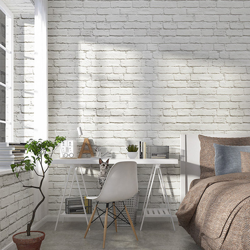 White Brick Wallpaper Rolls Modern Simple PVC Wall Paper 3 D For Living Room Barber Shop Clothing Store Restaurant Backdrop Wall<br>