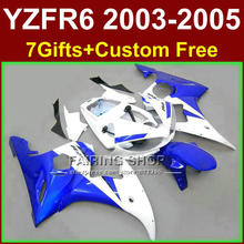 Fitment body parts for YAMAHA fairings YZF R6 2003 2004 2005 ABS R6 blue white fairing kit r6 03 04 05 +7gifts YSE4
