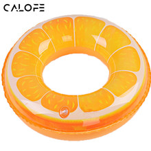 CALOFE Inflatable Fruit Print Kids Adult Swimming Rings Pool Circle Float Childrens swimming laps Buoy Orange Swim Safety Z25