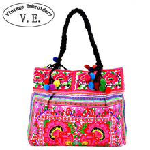 New National Ethnic Embroidery Bags Handmae Double Side Embroidered Bag Lady Large Chinese Style Shoulder Bag Big Handbag