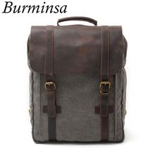 Burminsa Vintage Large Crazy Horse Leather Canvas Backpack For Men School Bags Pack Women Laptop Bagpack Teenagers Travel Bags(China)
