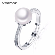 VEAMOR 100% Genuine Freshwater Pearl Ring Elegant Purple Ring for women,Fashion 925 sterling silver jewelry for Halloween(China)
