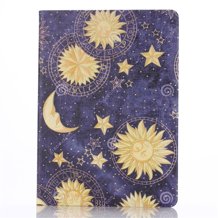 Drop shippingSimpleStone Sun and Moon Pattern Leather Stand Flip Case Cover For iPad 6 Air 2 May30 mosunx<br><br>Aliexpress