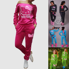 2016 Spring Autumn New Women Hello Kitty Printed Cotton Sweatshirts Sets Hoodies Suit Tracksuits hoodies Sweatshirt Suits