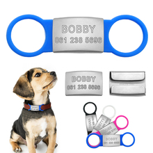 Stainless Steel Personalized Dog Cat ID Tag Customized Engraved Pet Nameplate Tags With Tensile Rubber For Pets Collar Leash(China)