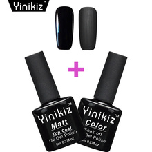 Yinikiz Black Bottle Finish Matte Top Coat Permanent Dull Frosted Surface Matt Top Gel UV LED Soak-Off Gel Nail Polish for Tips
