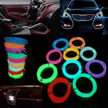 1M 2M 3M 5M Car decor 12V lighter LED Lamp Strip thread sticker decals tags accessory Flexible Neon Light EL Wire Rope Tube(China)