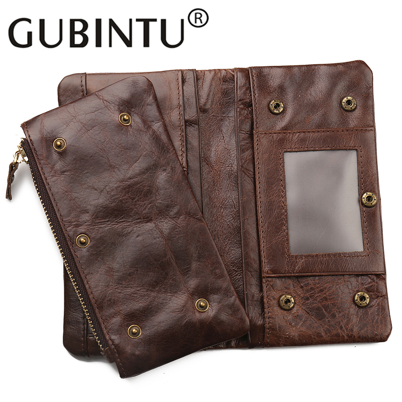 GUBINTU New First Layer of Real Leather Mens Oil Retro High-Capacity Multi-Card Bit Long Wallet Clutch Men Genuine Clutches Bag<br><br>Aliexpress