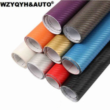 100mmX1270mm DIY Car Styling 3D Thicken 3M Car Carbon Fiber Vinyl Wrapping Film Car Stickers Waterproof With Air free bubbles(China)