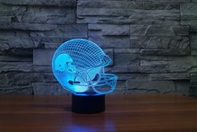 Football Helmet LED Light 7 Color Table Lamp Colorful 3D Night Light, Drop Shipping Child Christmas Gift(China)