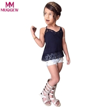 Fashion Summer Baby Girls Clothes Sets Toddler Kids Baby Girl Lace T-shirt Tops Demin Shorts Pants Clothes Set Outfits(China)