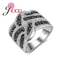 JEXXI New Arrival White Black Crystal Zircon Inlay Women Wedding Ring 925 Sterling Silver Jewelry Rings Size 6 7 8 9 10(China)