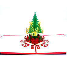 3D Pop Up Cards Handmade Postcards Holiday Greeting Cards Merry Christmas Tree Folding Type Cards Invitations(China)