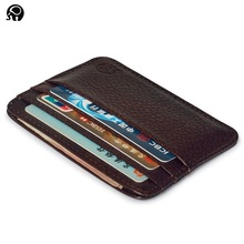 Fashion Genuine Leather Bank Card Case Thin Mini Card Wallet Men Business ID Credit Cards Holder Cards Pack Cash Pocket 2016 NEW(China)