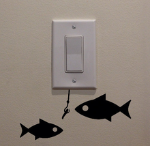 "Fishing Bait and Two Fish Swimming Below Light Switch (4""x8.75"") - Bedroom/Home Decor Switch Sticker"